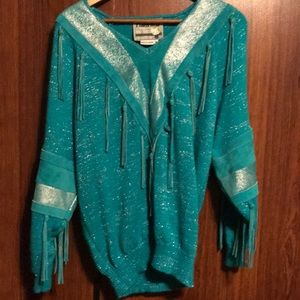 Vintage Turquoise Leather Sweater